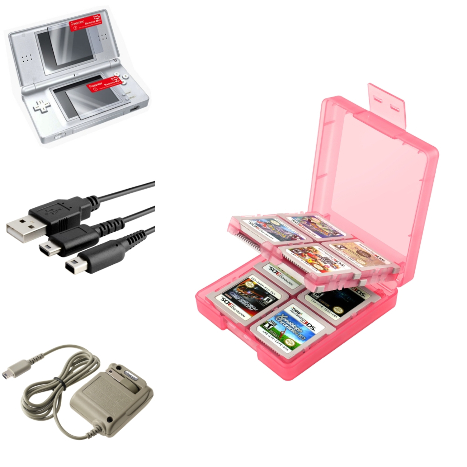 Insten Coral 16in1 Card <mark>Case</mark>+USB+Grey AC Charger+2-LCD Protector For <mark>Nintendo</mark> <mark>DS</mark> Lite