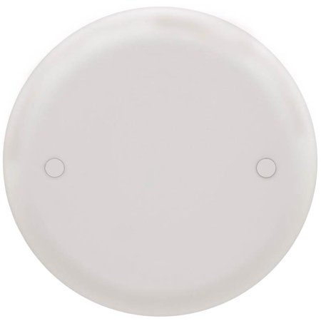 Carlon CPC4WH Blank Round Flat Outlet Box Cover, 4 in Dia, White PVC