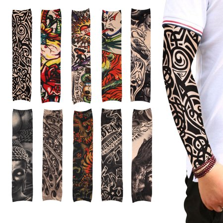 TSV 10Pack UV Protection Tattoo Cooling Arm Sleeves, Perfect for Cycling, Driving, Basketball, Football & Outdoor Activities. Performance Stretch & Moisture