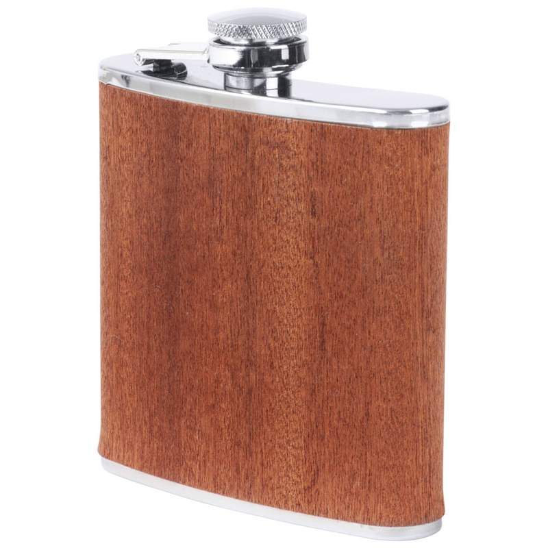 Maxam® 6oz Stainless Steel Flask with Real Sapele Wood Wrap