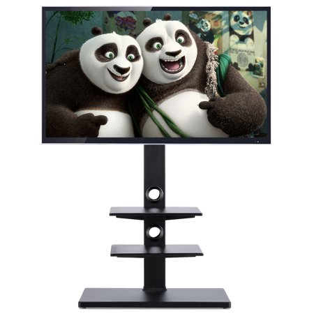 Rfiver Swivel 3-Shelves Floor TV Stand with Mount, Fit for 32 37 42 47 50 55 60 65 Inches Plasma LCD LED Flat or Curved Screen TVs, Black RTF1002