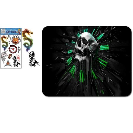 Mouse Tattoo (Skull Head on Time Mouse Pad with Tiger and Dragon Tattoos Sticker, MP333)