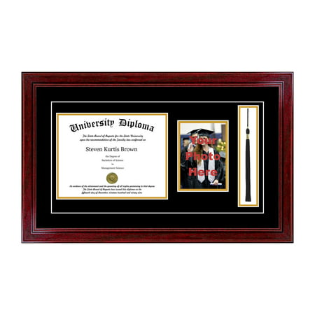 - Single Diploma Frame with 5x7 Photo, Tassel and Double Matting for 8.5