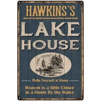 HAWKINS'S Lake House Blue Cabin Home Decor 8 x 12 High Gloss Metal 208120038191
