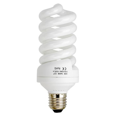 Fotodiox 30 Watt Daylight Compact Fluorescent (CFL) Light Bulb, Full Spectrum (5400k CRI~90) Daylight White Light High-Wattage Bulb, Great for Photo & Video Light Fixtures