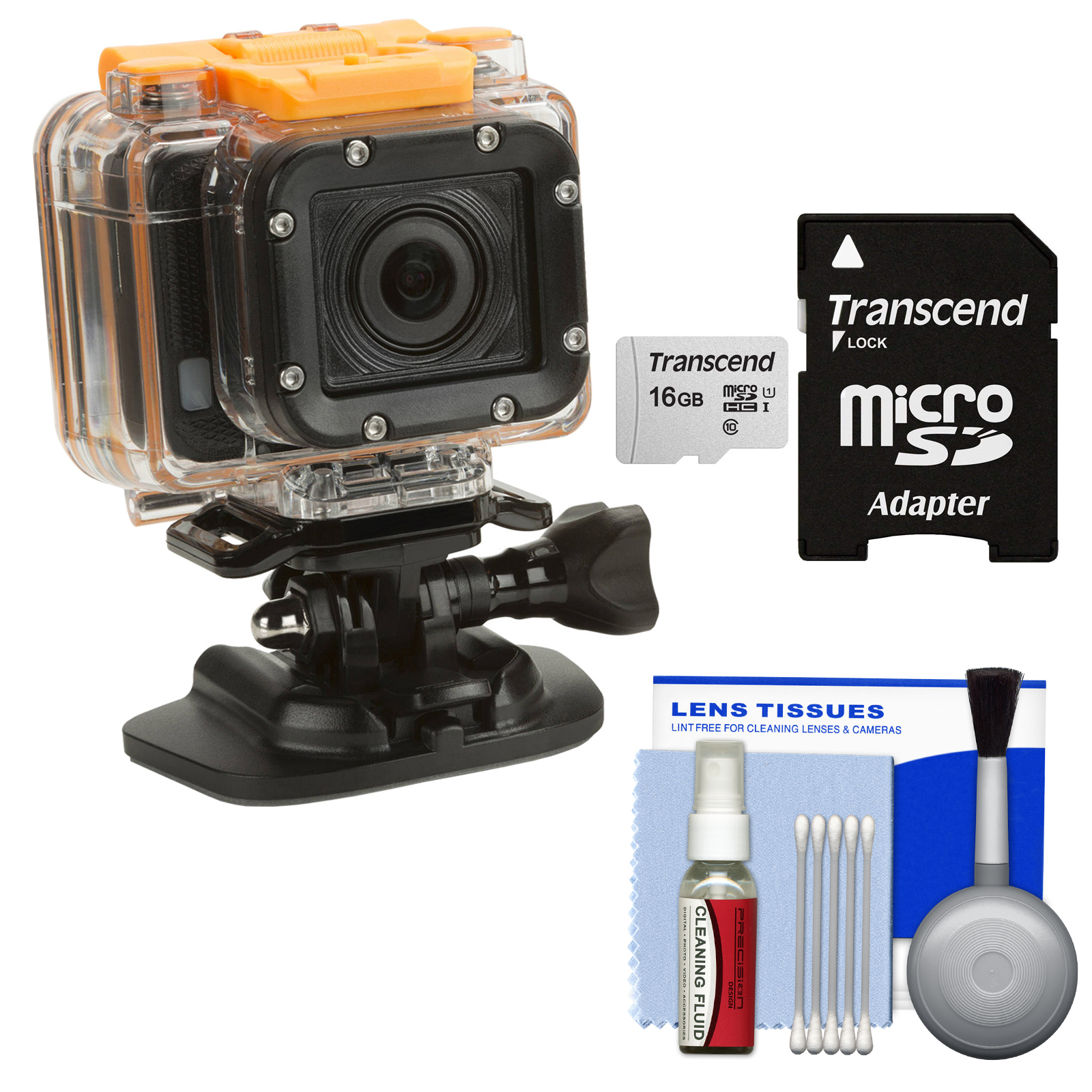 HP AC300w 1080p HD Wi-Fi Action Camera Camcorder - Refurbished with 16GB Card + Cleaning Kit