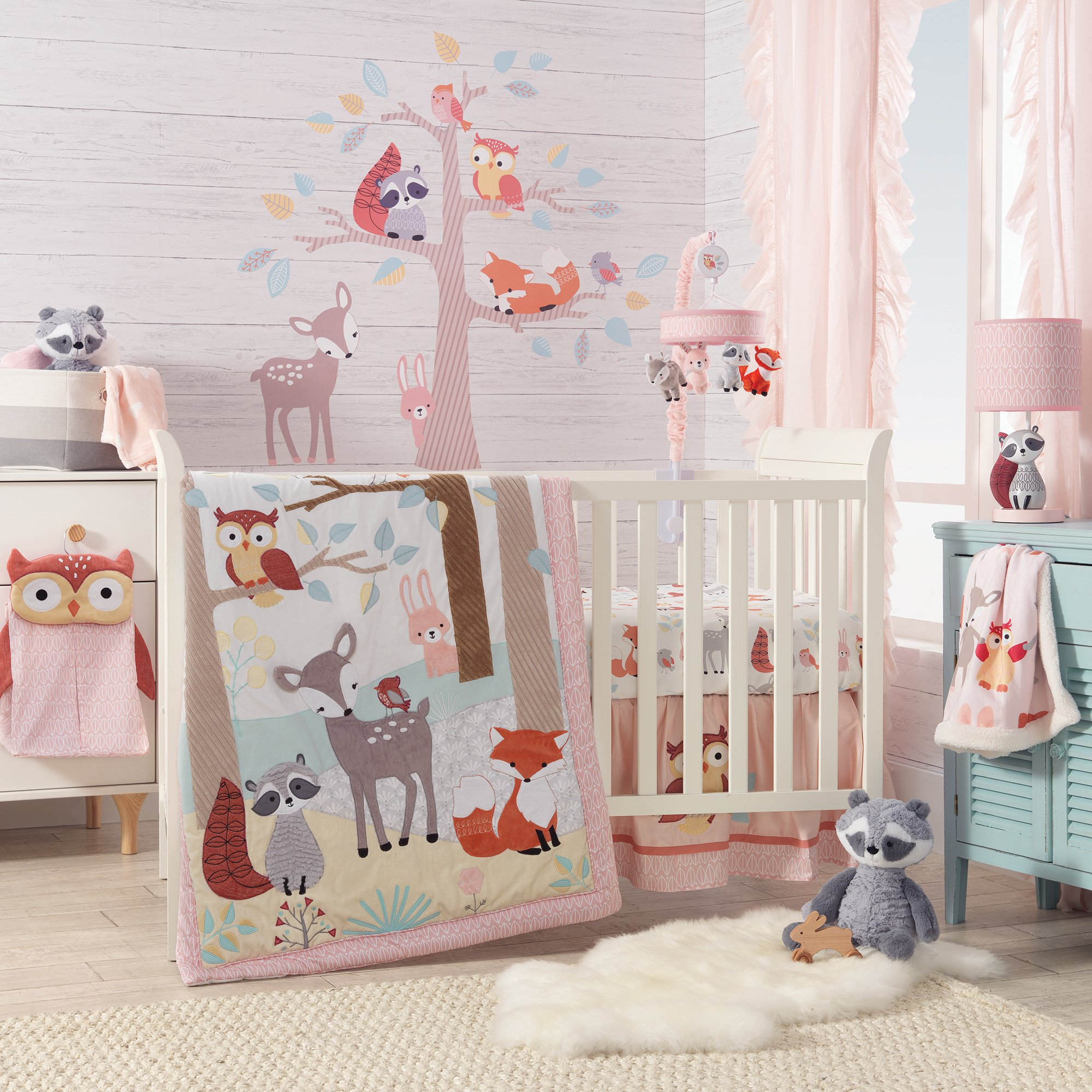 Lambs & Ivy Little Woodland 4-Piece Crib Bedding Set - White, Coral, Animals