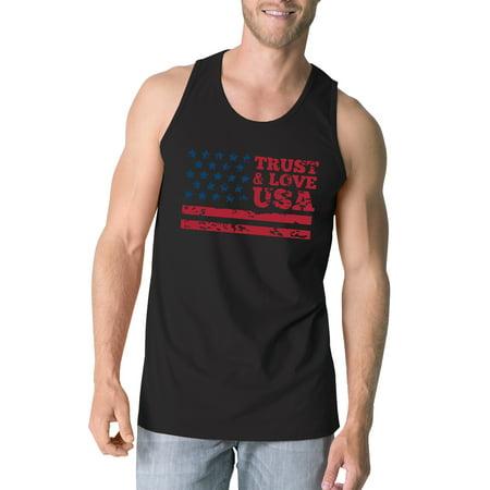 Trust Love Usa Mens Black Tank Top Round Neck Line Cotton Tanks