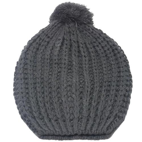 Fashion Hat Girls Grey Rib Stitch Pompom Bobble Beanie Hat