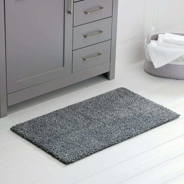 Better Homes And Gardens Thick And Plush Bath Rug 23 X 39 Grey Heather Walmart Com Walmart Com