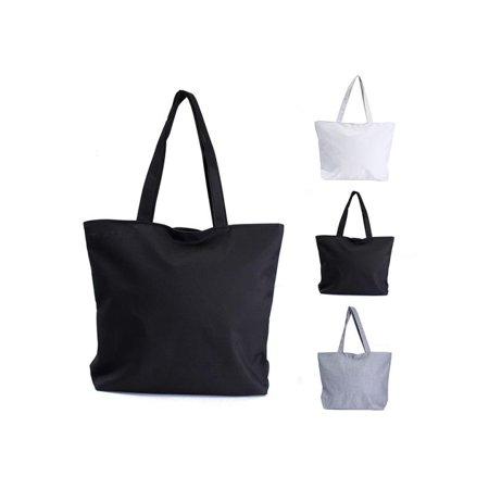 Fashion Women Canvas Shopper Handbag Shopping Summer Beach Shoulder Bag Tote Pure Color White, Black, (Canvas Shopper Handbag)