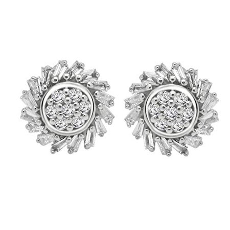 0.28 Ct Round & Baguette Shape Natural Diamond 10K White Gold Floral Cluster Stud Earrings For