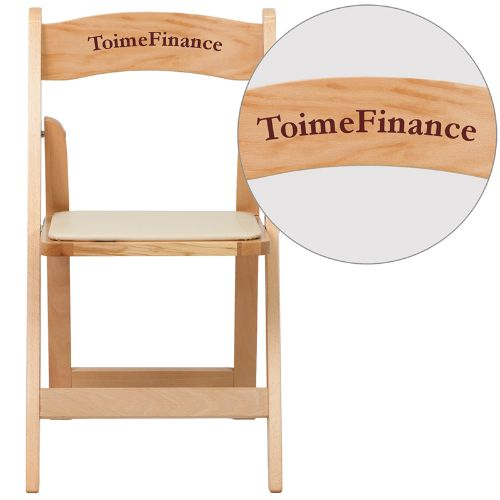 Personalized HERCULES Series Natural Wood Folding Chair with Vinyl Padded Seat FLAXF2903NATWOODEMBVYLGG