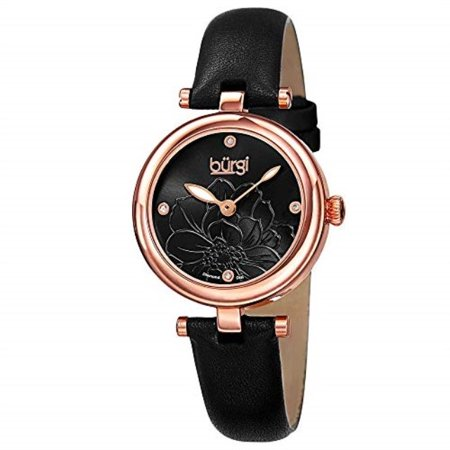 Women's BUR128BKR Diamond Accented Flower Dial Rose Gold & Black Leather Strap Watch