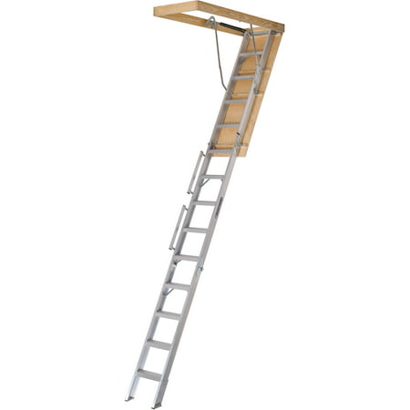 Louisville Ladder AL228P 10 ft. - 12 ft. Aluminum Attic Ladder, 350 lbs Load Capacity
