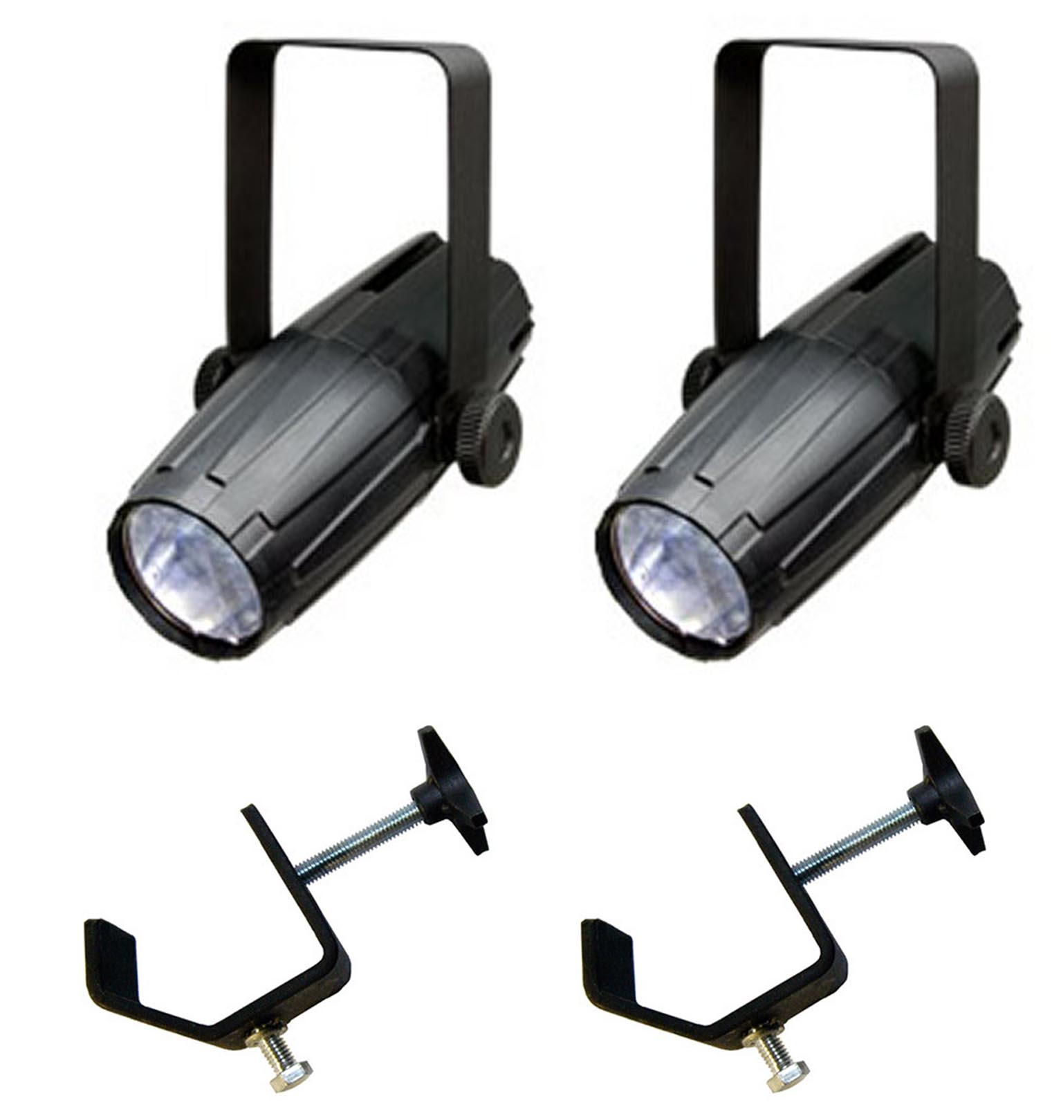 (2) CHAUVET LED PINSPOT 2 High-Powered 3W DJ Mirror Ball Spotlights w  C-Clamps by Chauvet Dj
