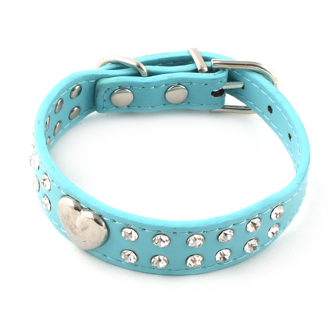 Pet Dog PU Leather Heart Faux Diomond Decor Adjustable Belt Buckle Collar XS