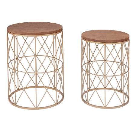 Awe Inspiring Mainstays 2 Piece Nesting Wood And Metal Garden Stool Set Andrewgaddart Wooden Chair Designs For Living Room Andrewgaddartcom