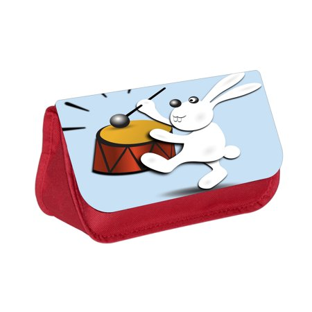 Drumming Bunny - Girls / Boys Red Pencil Case - Pencil Bag - with 2 Zippered Pockets and Nylon Lining](Energizer Bunny Drum)