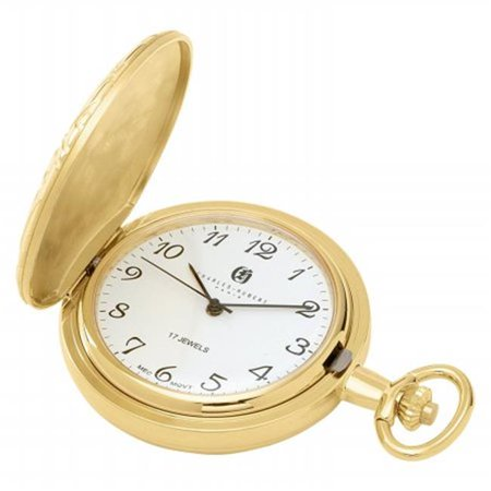 Charles-Hubert- Paris  Gold-Plated Mechanical Pocket Watch with Arabic Numerals and Plated Combination
