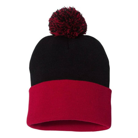 Couver 12 inch 100% Knit Acrylic Winter Beanie Hat with Pom Pom Warm Skull Cap for Man Women 1PC - (Black/ Red)