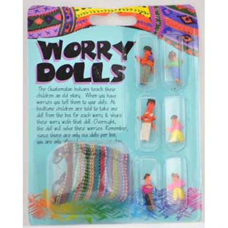 AzureGreen Magical Supplies Worry Doll Set Colorful Cloth Small - Mayan Worry Dolls