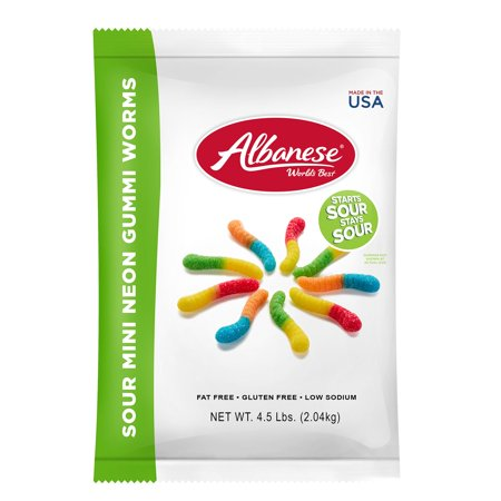 Sour Mini Neon Gummi Worms Bulk Candy, 4.5 Lb ()