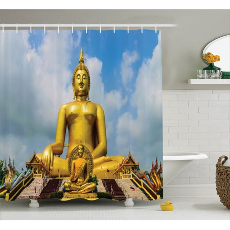 Buddha Decor The Gest Golden Statue At Temple In Thai Oriental Sage Asian Style