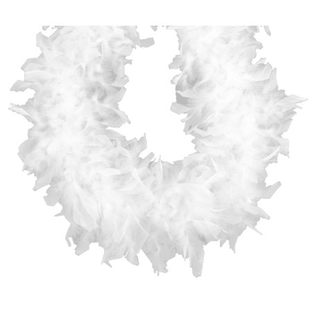 Chandelle Feather Boa White 70 gm 72 in 6 Ft - Mardi Gras Feather Boas