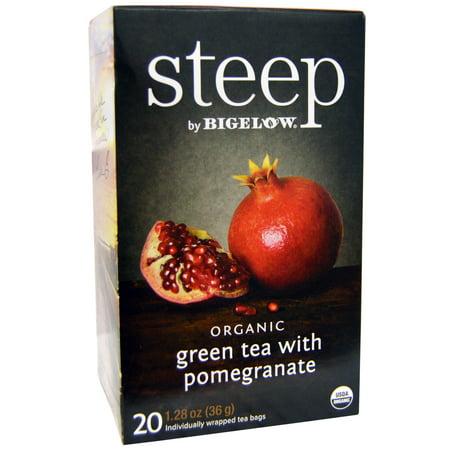 steep par Bigelow® Thé vert bio avec sacs de thé grenade 20 ct. Des sacs