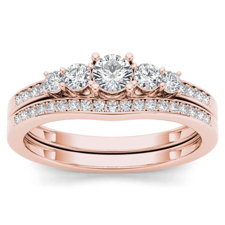 1/2 Carat T.W. Diamond 14kt Rose Gold Five Stone Bridal Set 14k White Gold Set