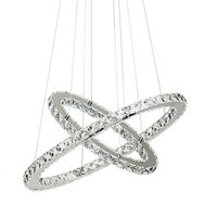 LED Neutral Crystal Glass Chandelier Pendant Ceiling Light Fixture with 2 Rings (40+60) For Dining Room, Living Room and Bedroom(Dimmable)