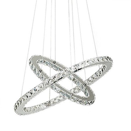 LED Neutral Crystal Glass Chandelier Pendant Ceiling Light Fixture with 2 Rings (40+60) For Dining Room, Living Room and Bedroom(Dimmable) ()