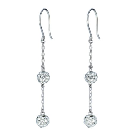 14K White Gold Shiny Cable Chain Link with 2 White Crystal Ball Drop Earrings