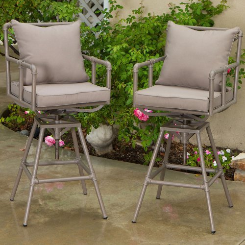 Northrup Pipe Outdoor Adjustable Barstool - Set of 2