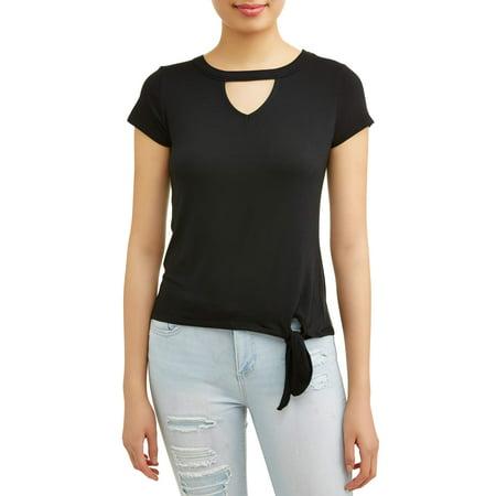 Juniors Tie - Juniors' Cut-Out Neck Side Tie Short Sleeve T-Shirt