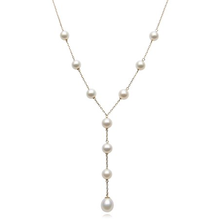 Yellow Gold Cultured Necklace (6-9mm Cultured Freshwater Pearl 14kt Yellow Gold Tin Cup Necklace,)