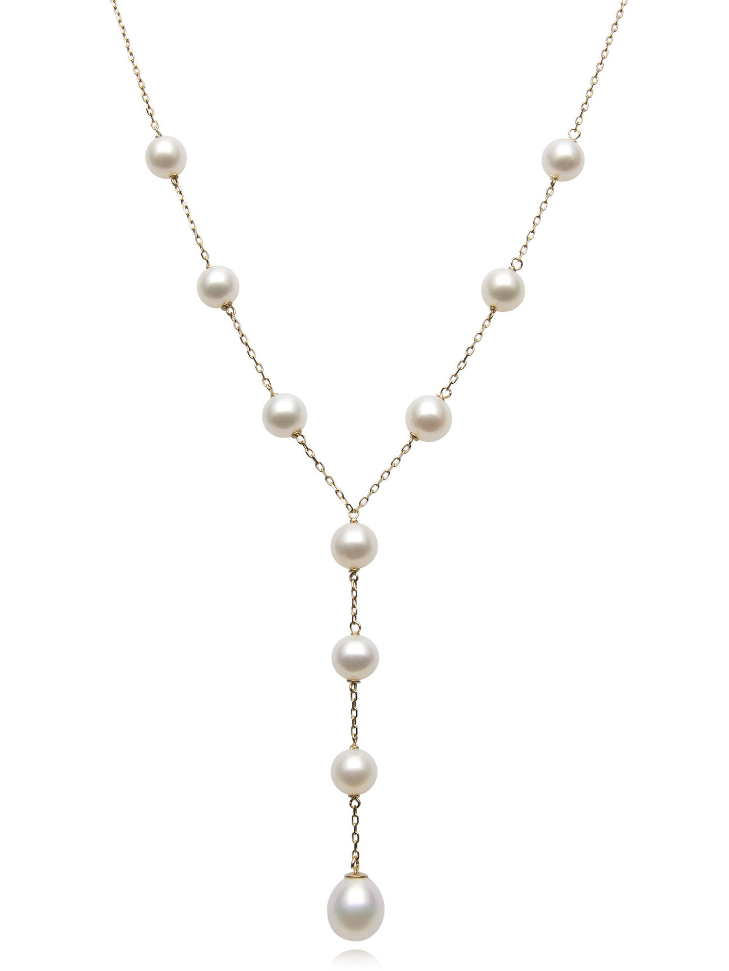 """6-9mm Cultured Freshwater Pearl 14kt Yellow Gold Tin Cup Necklace, 17.5"""""""