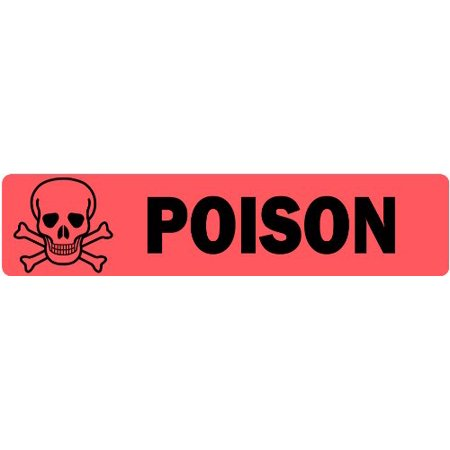 Poison with Cross Skull Image - Veterinary Label / Stickers, 500 labels per roll, 1 roll per package, .375 x 1.625 red veterinary label with black print By - Halloween Labels Poison