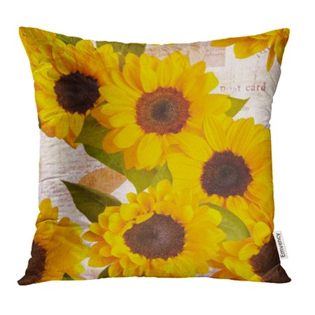 ARHOME Sunflowers Pattern on Vintage Style Collage with Fragments of Letters and Old Pillow Case Pillow Cover 18x18 inch Throw Pillow Covers
