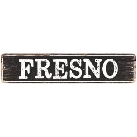 City Lights Fresno (FRESNO Personalized Chic Metal Sign Home Decor Cities 4x18)