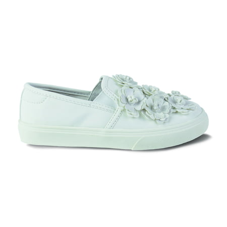 Flower Girls Shoes White (Girls Wonder Nation Casual Flower)