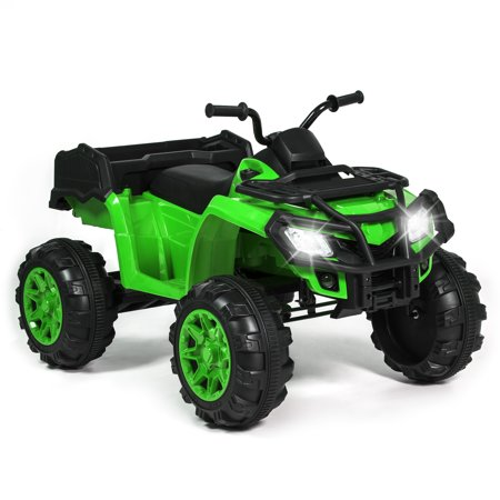 Best Choice Products 12V Kids Powered ATV Quad 4-Wheel Ride On Car w/ 2 Speeds, Spring Suspension, MP3, Storage - Green