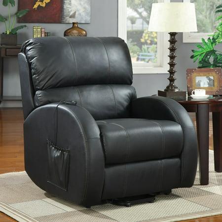 Top Grain Leather Match Coaster Recliner, Black