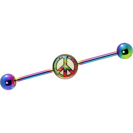 Body Candy Rainbow Anodized Steel Glow Tie Dye Peace Sign Industrial Barbell 14 Gauge (Body Jewelry Barbell 14 Gauge)