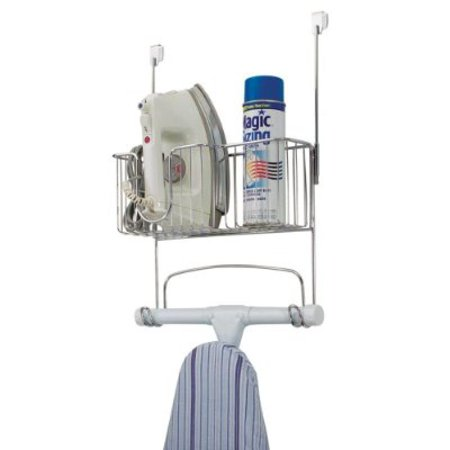 InterDesign Ironing Board Holder with Storage Basket for Clothing Iron - Wall Mount/Over Door, Chrome Keep ironing supplies in one convenient place and out of the way when not in use. This ironing board holder has two hooks for standard ironing boards and a steel wire basket for an iron and other supplies. Easy to mount anywhere; either over a standard-width door, or to a wall.  SKU : ADIB00BNUXOHW