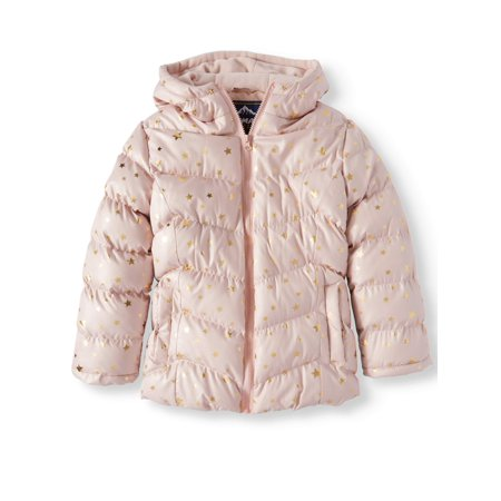 Climate Concepts Metallic Star Print Bubble Jacket (Little Girls & Big (Patagonia Kids Girls Jacket)