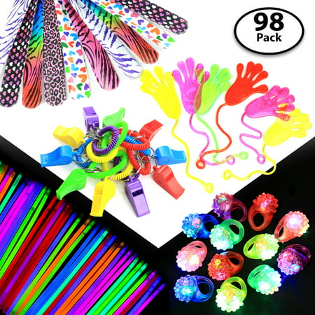 Party Gift Favors Set for Kids – 50x Glow Sticks + 12x Whistles +12x Slap Bands + 12x Flashing Rings - Great Party Prizes for Birthday, Loot Bags, Classrooms, Grab Bags, Doctor Office - Good Halloween Game Prizes
