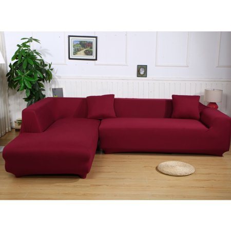 Sofa Covers for L Shape, 2pcs Polyester Fabric Stretch Slipcovers 3  seater(70\