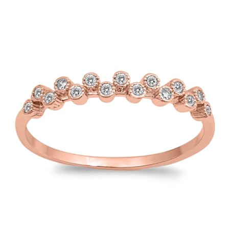 Bezel Set Clear Cubic Zirconia Head Band Design Ring Rose Gold-Tone Plated Sterling Silver